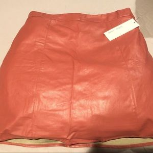Rose pink Bishop & Young faux leather skirt